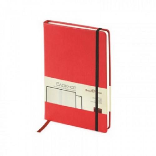 Блокнот  A5 100 листов Bruno Visconti Megapolis Velvet красный в клетку на сшивке с фиксирующей резинкой (144х212 мм)