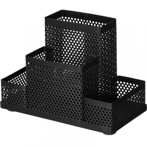 Подставка для канцелярских принадлежностей Attache Башня 4 секции, металлическая сетка, 160х110х80 мм, черная