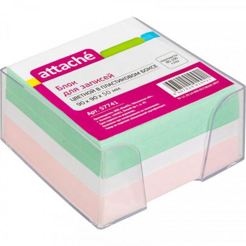 Блок-кубик в прозрачном стакане 9х9х5 см цветной
