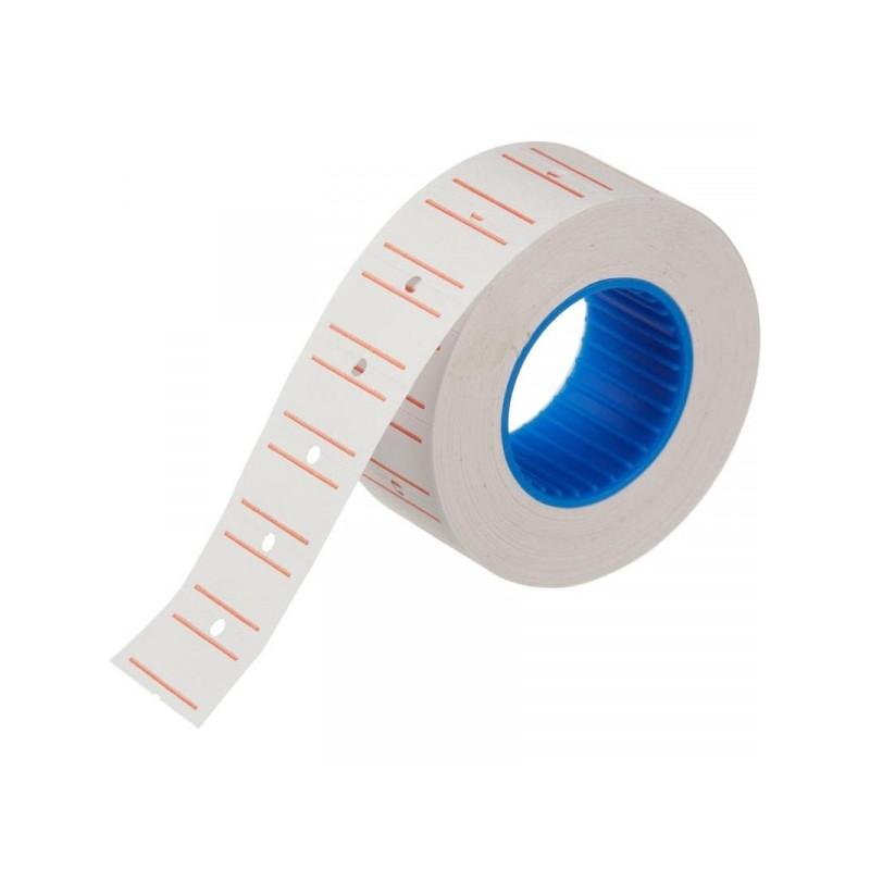 Этикет-лента 21,5х12 мм белая прямоугольная с красной полосой 800 штук/рулон 200 рулонов/упаковка