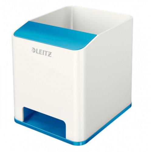 Подставка для ручек и смартфона с усилением звука Leitz WOW синий металлик/белый
