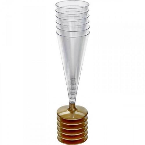 Бокал одноразовый Bibo пластиковый для шампанского прозрачный на 170 мл 6 штук в упаковке