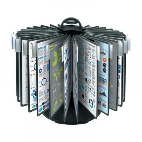 Демосистема настольная Mega Office карусель 30 панелей черная