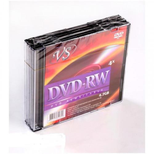 Носители информации DVD-RW VS 4,7GB 4x Slim 5 штук