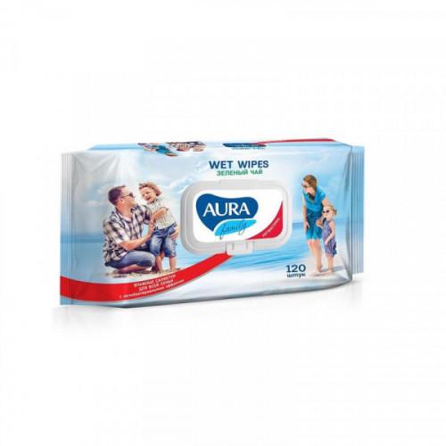 Салфетки влажные антибактериальные Aura 120 штук в упаковке