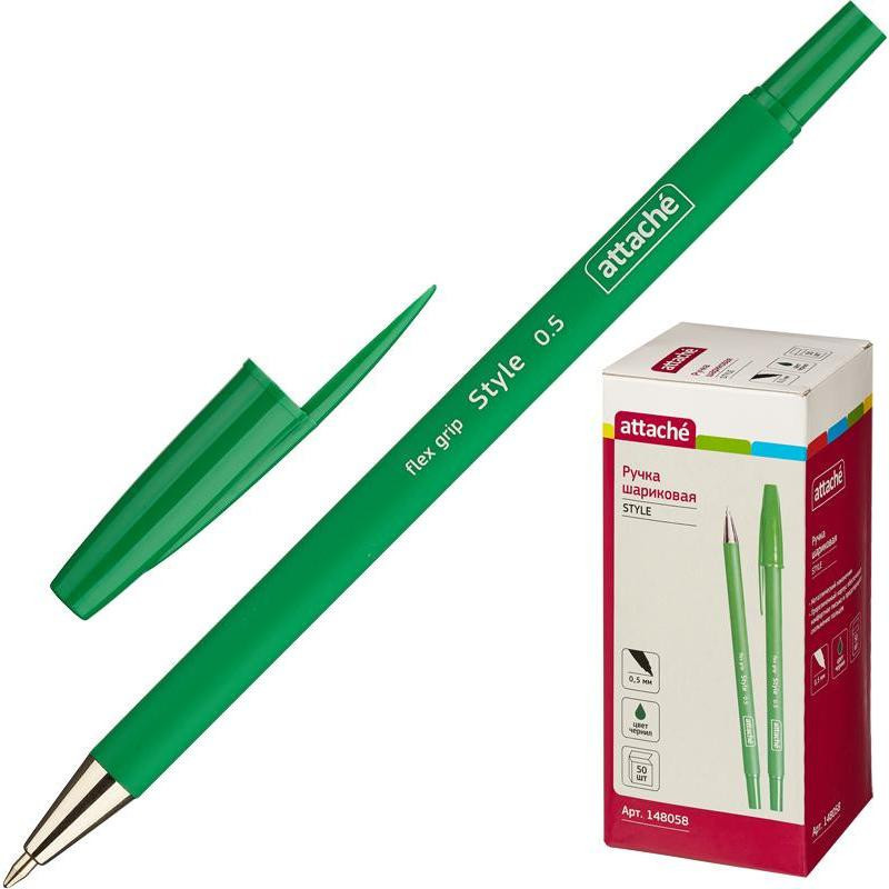 Ручка шариковая Attache Style 0,5мм прорезин.корп.зеленый ст.
