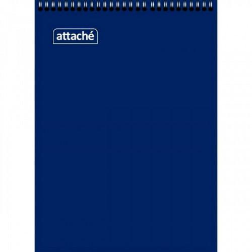 Блокнот А7 60 листов клетка на спирали картонная обложка синий Attache