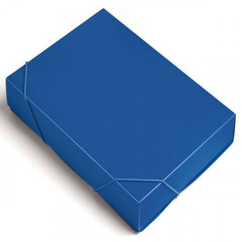 Папка-короб на резинке Бюрократ пластик 0.7мм корешок 40мм A4 синий