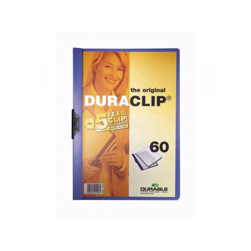 Папка для брошюровки Durable с клипом А4 синяя до 60 листов