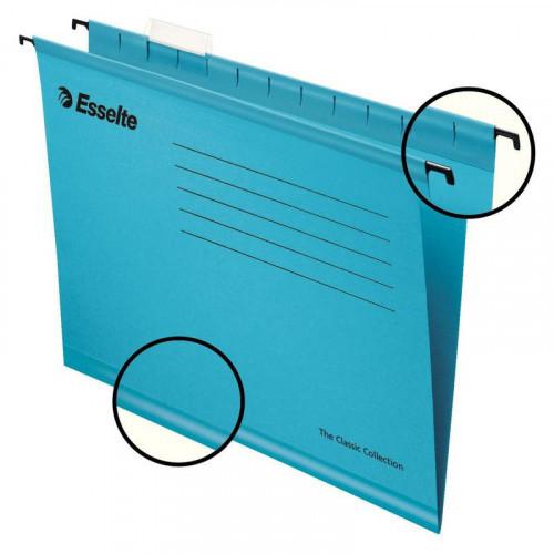 Папка подвесная Esselte Classic А4 до 300 листов синяя (25 штук в упаковке)