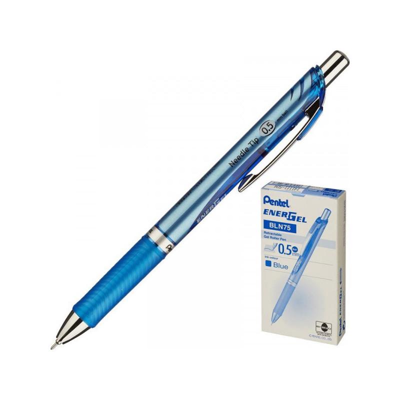 Ручка гелевая PENTEL BLN75C EnerGel автоматическая манжетка 0,3 мм синий ЭКО