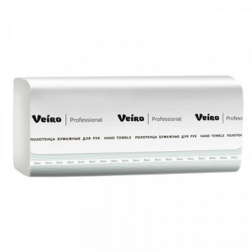 Полотенца бумажные 1-слойные листовые V-сложение Veiro Professional Basic (20 пачек по 250 листов)