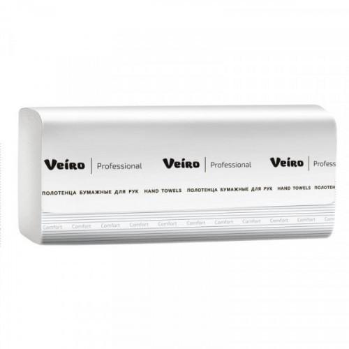 Полотенца бумажные 2-слойные листовые V-сложение Veiro Professional Comfort 20 пачек по 200 листов