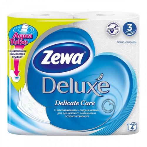 Бумага туалетная Zewa Deluxe 3-слойная белая 4 рул/уп