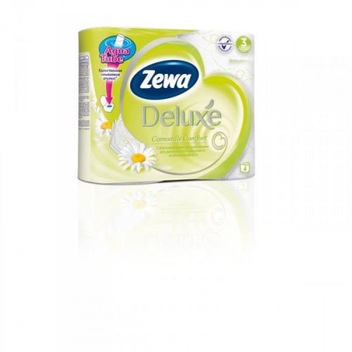 Бумага туалетная Zewa Deluxe 3-слойная белая с ароматом ромашки по 4 рул/уп