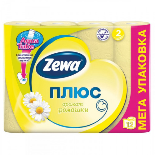 Бумага туалетная Zewa Plus 2-слойная желтая по 12 рулонов
