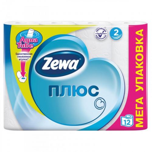 Бумага туалетная Zewa Plus 2-слойная белая по 12 рул/уп