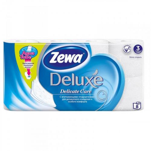 Бумага туалетная Zewa Deluxe 3-слойная белая по 8 рул/уп
