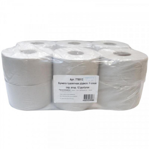 Туалетная бумага  1слойная серая 12рул/уп 0024А