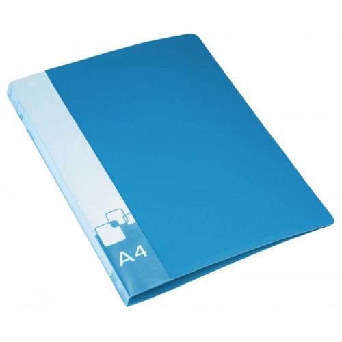 Папка на 2-х кольцах Бюрократ -0818/2RBLU A4 пластик 0.7мм кор.18мм внут.и торц.карм синий