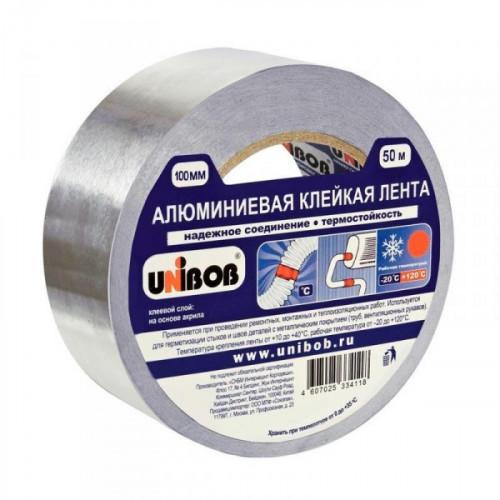 Клейкая лента алюминиевая Unibob 100 мм x 50 метров