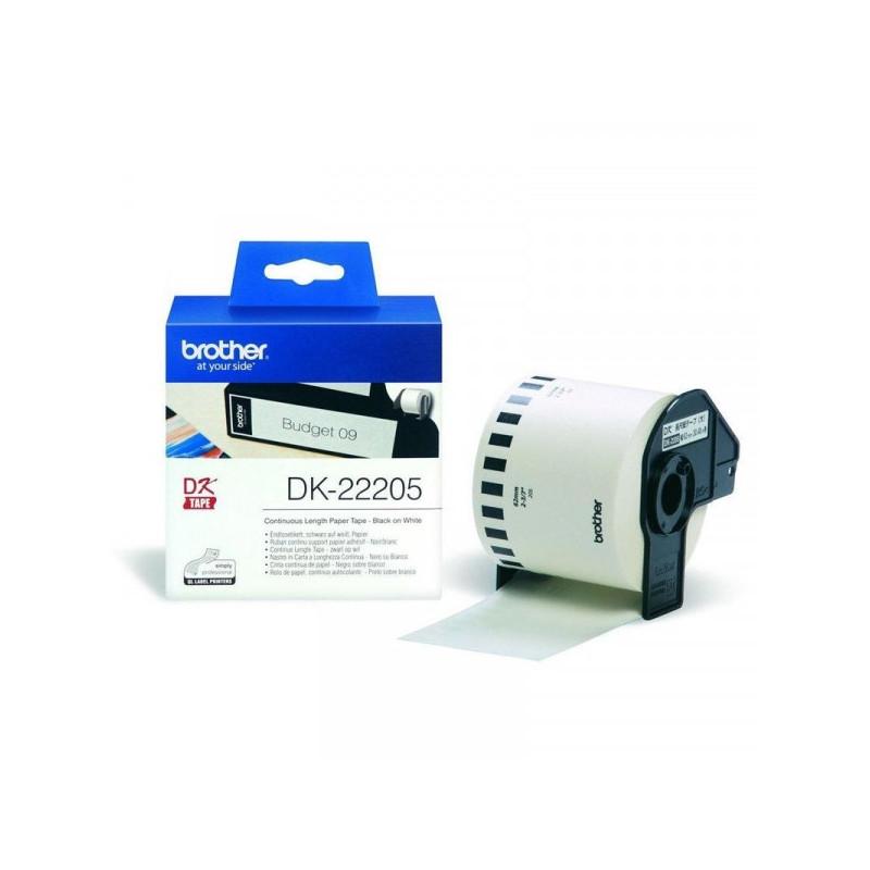 Картридж к принтеру Brother DK 22205 клеящаяся лента белая 62 мм 30.5 м