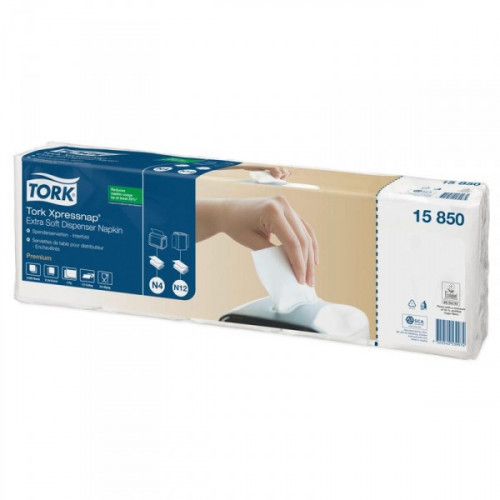 Салфетки бумажные для диспенсера Tork Premium N4/N12 15850 2-слойные 16,5x21,6 белые с тиснением 200 шт/пач 5 пач/уп