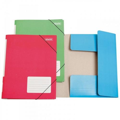 Папка на резинках Attache А4 картонная в ассортименте 400 г/кв.м до 180 листов