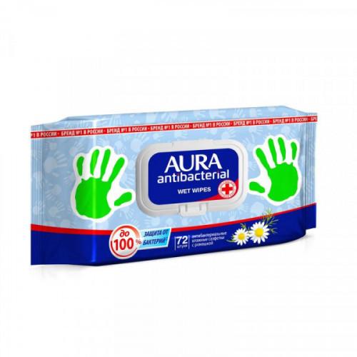 Салфетки влажные AURA антибактериальные 72 штуки