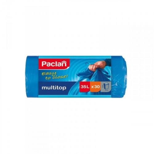 Пакеты для мусора на 35 литров Paclan multitop с завязками синие (10.5 мкм 64x50 см 30 штук в рулоне