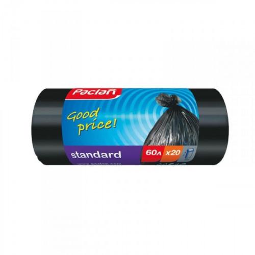 Пакеты для мусора на 60 литров Paclan Standart черные плотностью 7.4 мкм в рулоне 20 штук с размерами 60x70 см