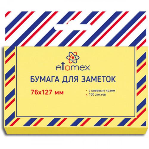Самоклеящийся блок Attomex, 76х127, желтый, 100 листов