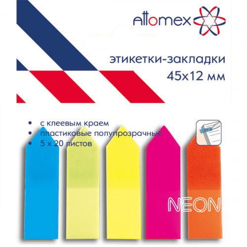 Клейкие закладки пластиковые, 45x12, 100 закладок, Attomex, 5 неоновых цветов, стрелки