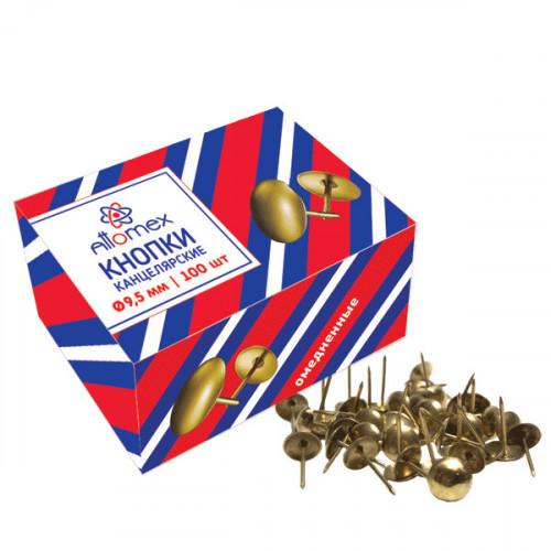 """Кнопки канцелярские """"Attomex"""" диаметр 9,5 мм, омедненные 100 шт в картонной коробке"""