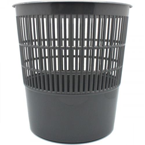 Корзина для бумаг 10л, круглая, пластик сетчатая, серая, Attomex