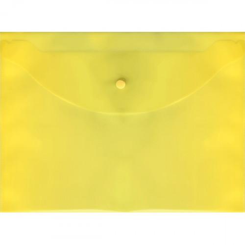 Папка-конверт на кнопке, А4, 120мкм, пластик, желтая, Attomex