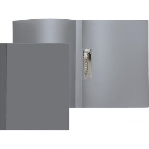 Папка с зажимом боковым, A4, 500мкм, 15мм, пластик, непрозрачная серая, Attomex