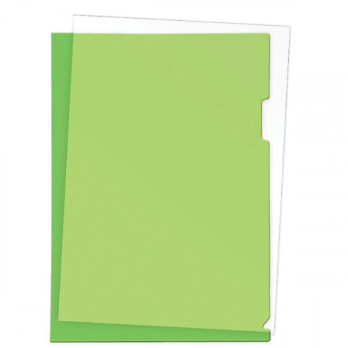Папка-уголок пластик A4, 180 мкм, 1 отделение, гладкая фактура, прозрачная зеленая, Attomex