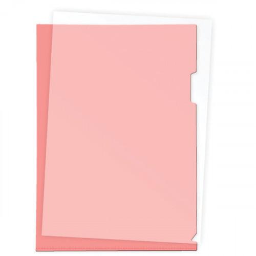 Папка-уголок пластик A4, 180 мкм, 1 отделение, гладкая фактура, прозрачная красная, Attomex