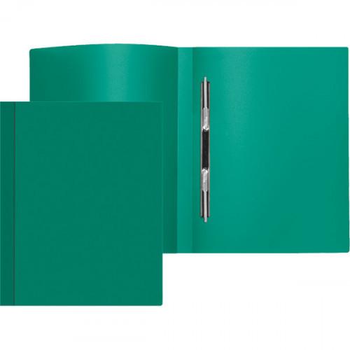 Папка-скоросшиватель пружинный, А4, 500мкм, ширина корешка 15мм, пластик, непрозрачная зеленая, Attomex