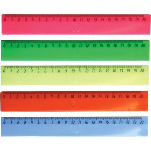 Линейка 20 см, пластик, непрозрачная неоновая, цвета ассорти, deVENTE