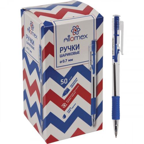 Ручка шариковая автоматическая, синяя, 0,7 мм, манжетка, прозрачный корпус, Attomex