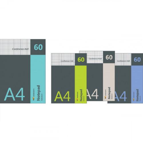 Блокнот А4, 60 л., клетка, CONFERENCE HALL, для конференций, 4 дизайна