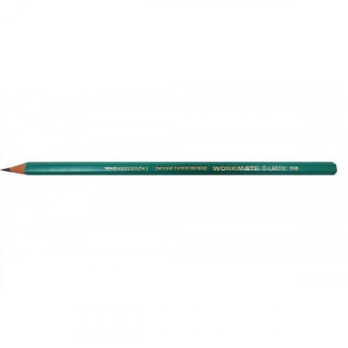 Карандаш чернографитный WORKMATE HB, без ластика, заточен, зеленый, пластик, диаметр грифеля 1,85 мм, индив. маркировка,