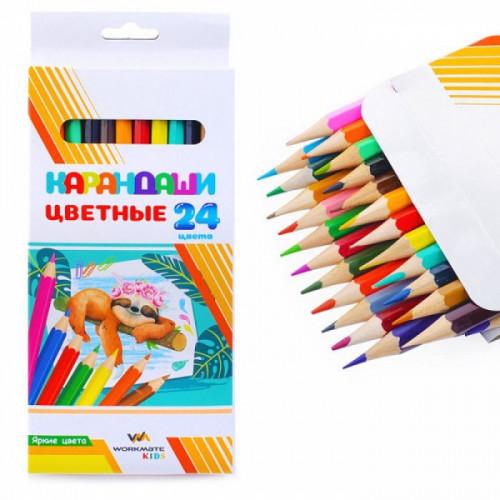 Карандаши цветные деревянные, 24 цветов, диаметр грифеля 2,65 мм, шестигранные, в картонной коробке