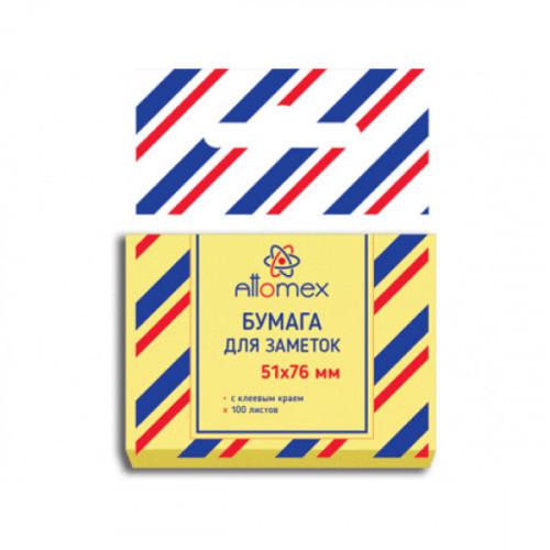 Cамоклеящийся блок Attomex, 51х76, пастель желтый, 100 листов