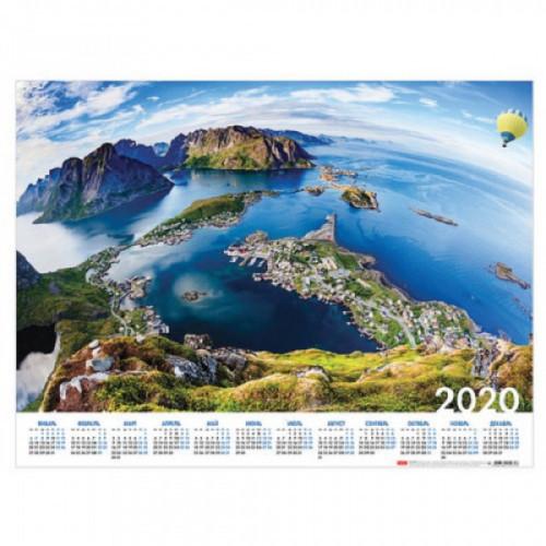 """Календарь, А2, 2020 год, 60х45 см, горизонтальный, """"С высоты птичьего полета"""", HATBER, Кл2_19240"""