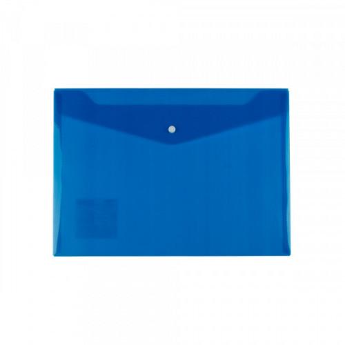 Папка-конверт на кнопке, А4, 180мкм, пластик, синяя, Диагональ, Expert Complete Classic