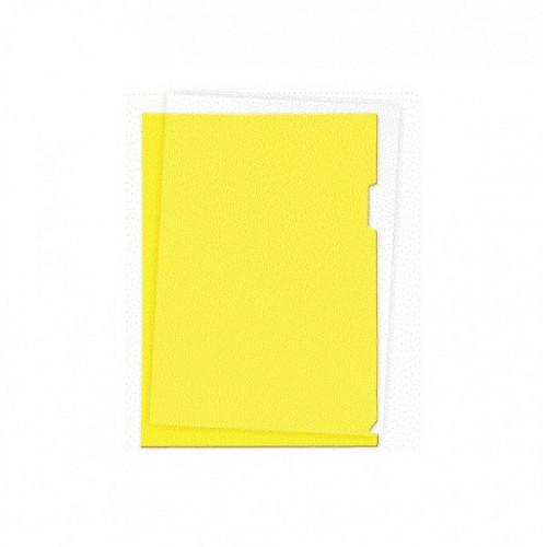 Папка-уголок пластик A4, 180 мкм, 1 отделение, гладкая фактура, прозрачная желтая, Attomex
