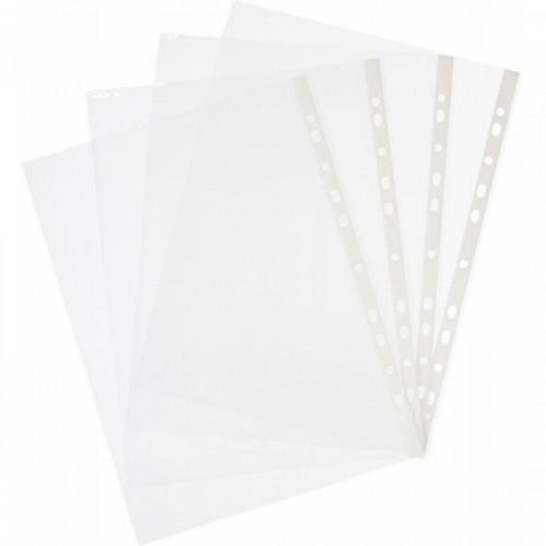 Файл-вкладыш с перфорацией, А4, 40мкм, прозрачный, глянцевый, 100 шт/упак